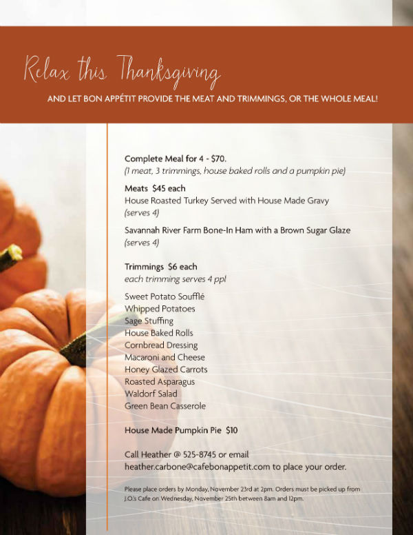 Thanksgiving menu 2015 SCAD meals Savannah