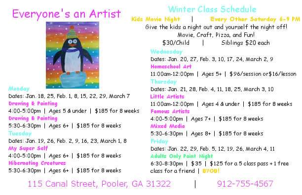 Kids' Art Lessons Pooler Everyone's An Artist Studio