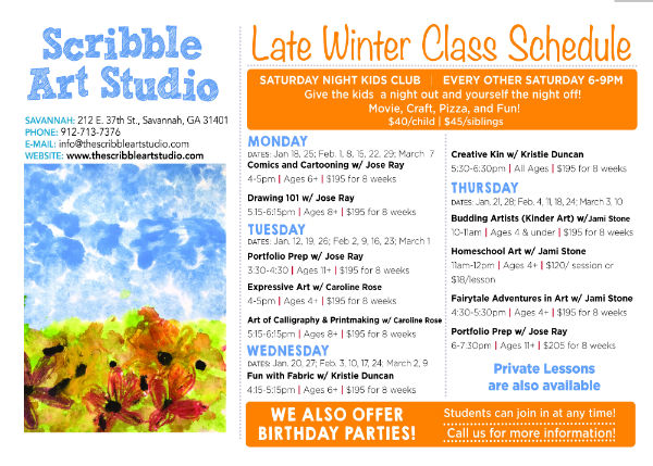 Art Classes Winter Scribble Art studio Savannah