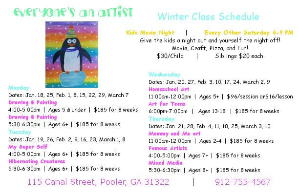 youth art classes Pooler Everyone's An Artist Studio