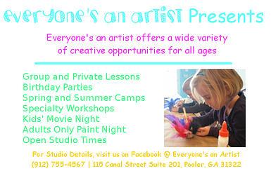 kids art classes Pooler Everyone's an Artist Studio