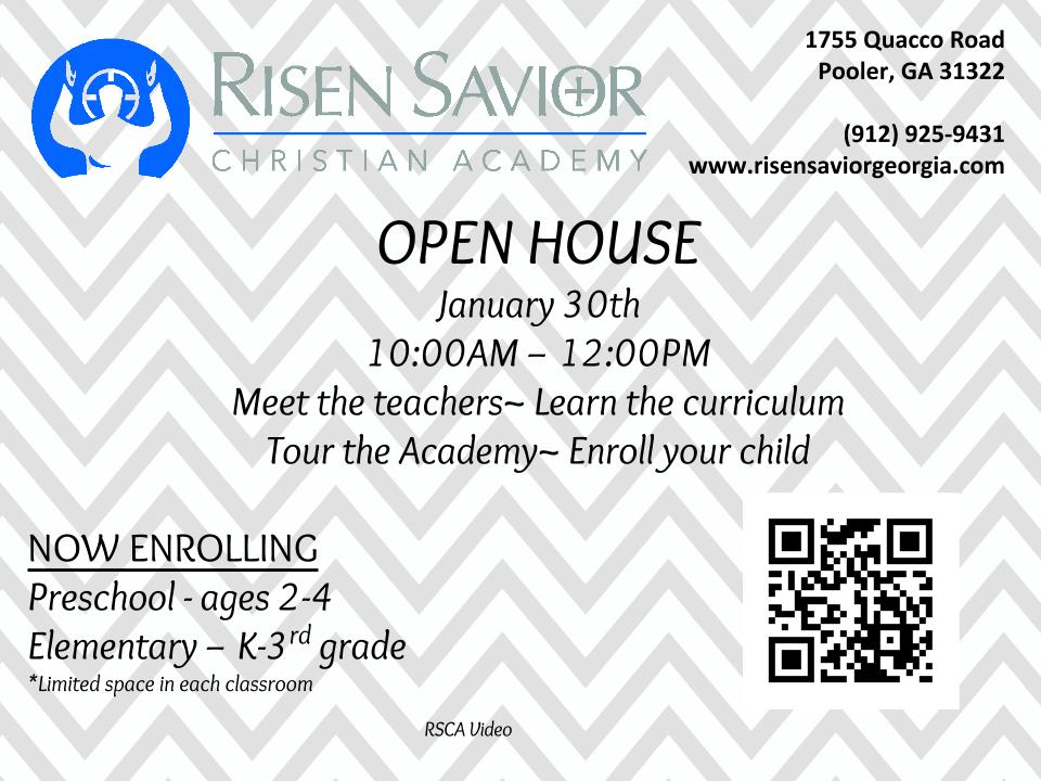 Pooler Savannah private schools Risen Savior Christian Academy open house 2016