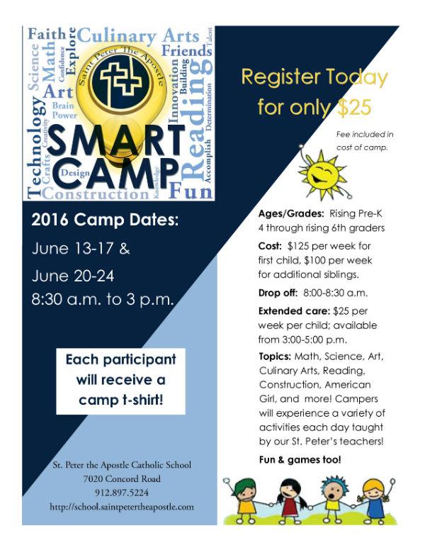 Smart Camp Savannah Summer Camps 2016 St. Peter the Apostle Wilmington Island