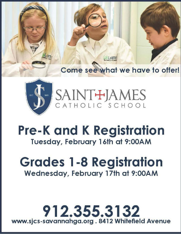 Savannah Schools St. James Catholic School registration 2016-17