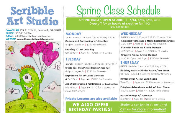 After-school kids art classes in Savannah Scribble Art Studio