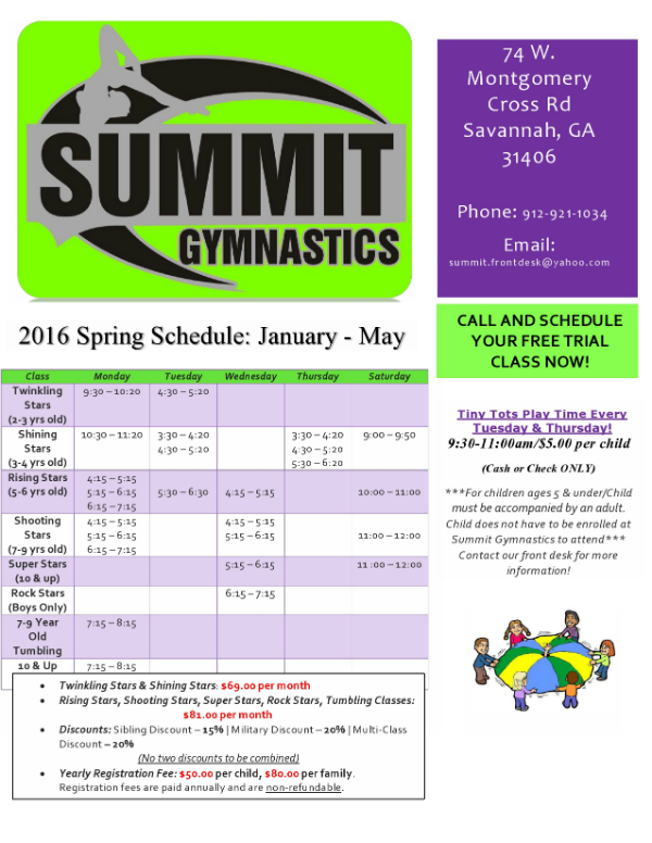 Gymnastics Classes Tumbling Savannah Summit