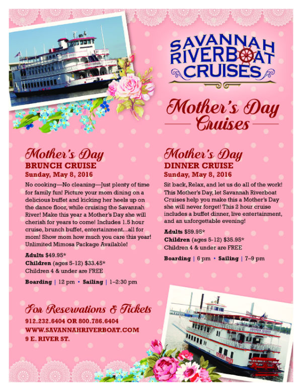 Mother's Day events 2016 Savannah Brunch Dinner Cruises