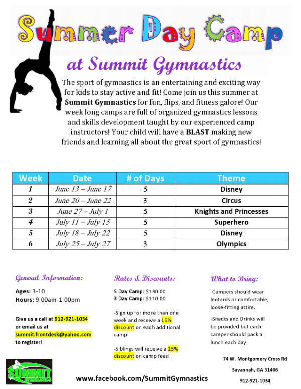 Summit Gymnastics Savannah Summer Camps 2016