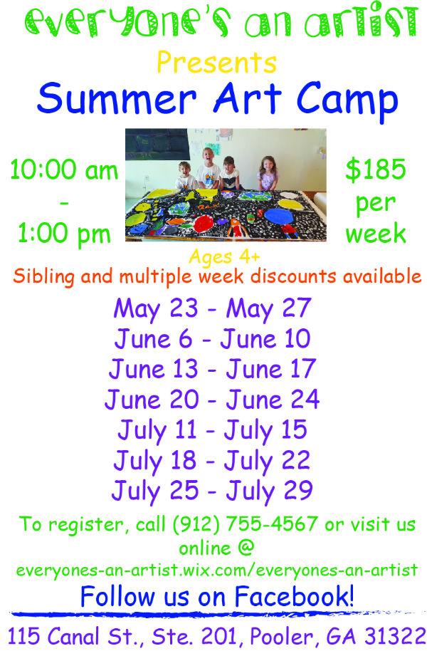 Art Summer Camps for Kids Pooler Ga.