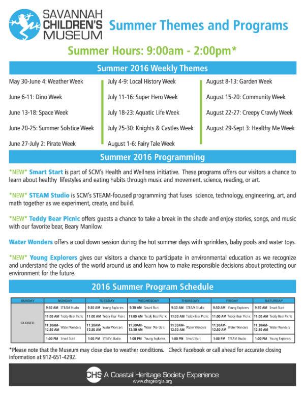 Summer Daily Programs 2016 Savannah Children's Museum