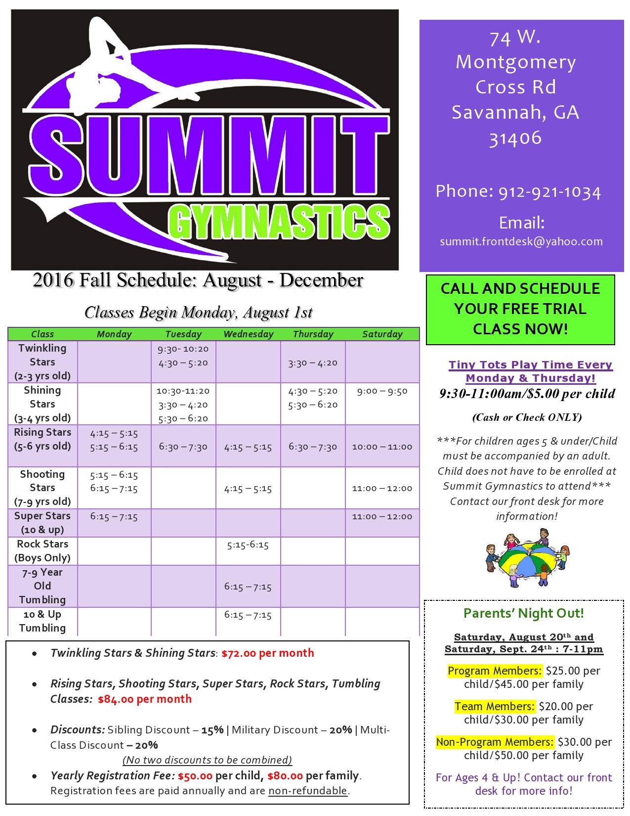 Gymnastics Classes Savannah Tumbling Summit