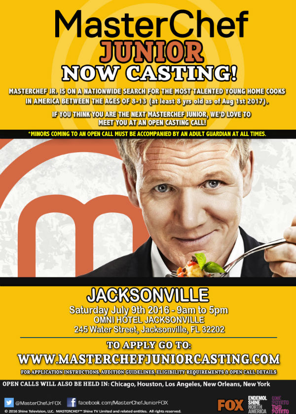 Masterchef Junior casting call auditions Jacksonville