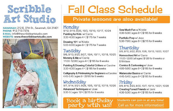 Fall art classes 2016 Scribble Art Studio youth Savannah