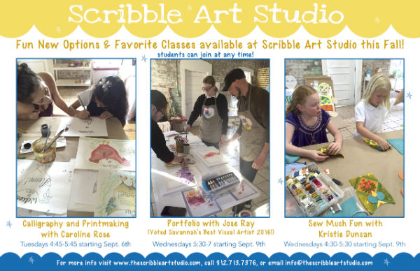 Scribble Art Studio after-school art classes Savannah
