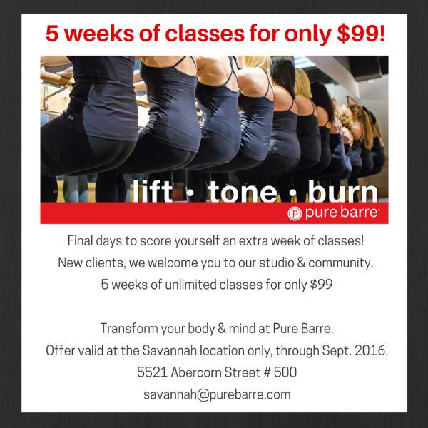Pure Barre deal Savannah September