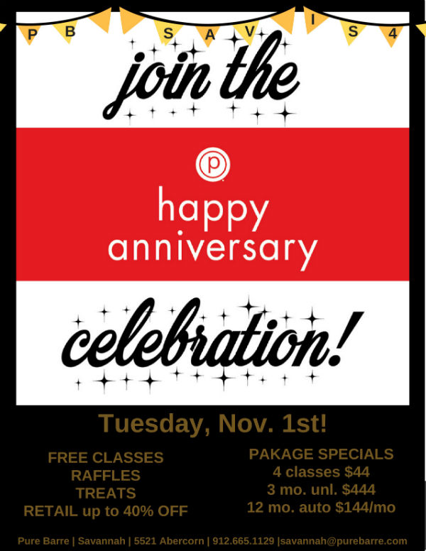Pure Barre Savannah free classes birthday celebration