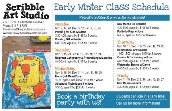 Winter art classes Scribble Art Studio Savannah