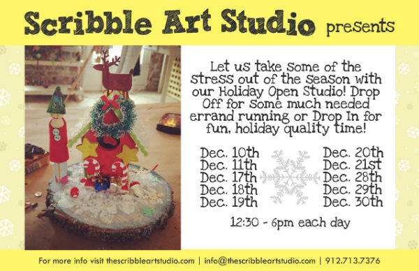 Holiday Open Studio Scribble Art Savannah Youth Kids Holidays