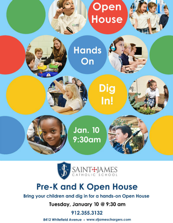 Saint James Catholic School Savannah Open House private school Kindergarten Pre-K