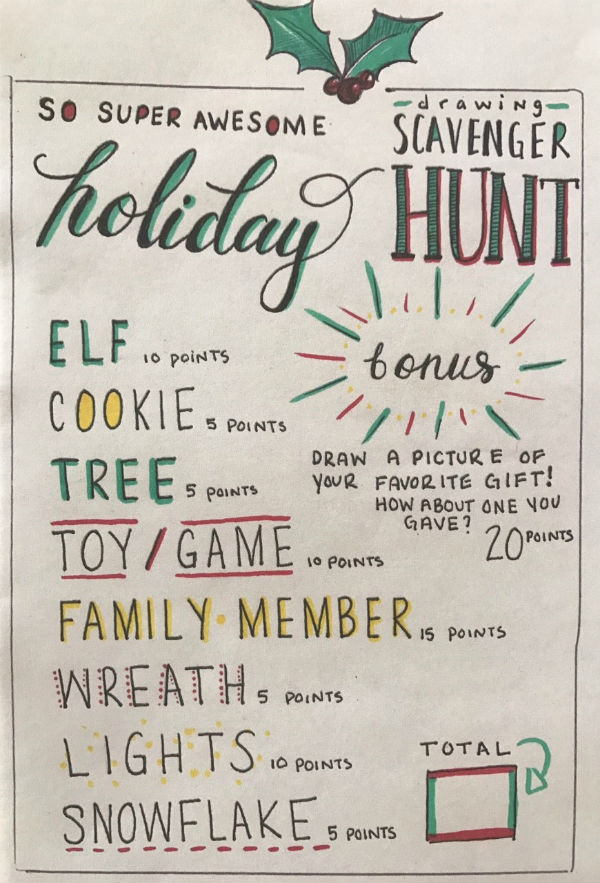 Holiday Scavenger Hunt Scribble Art studio Savannah things do with kids