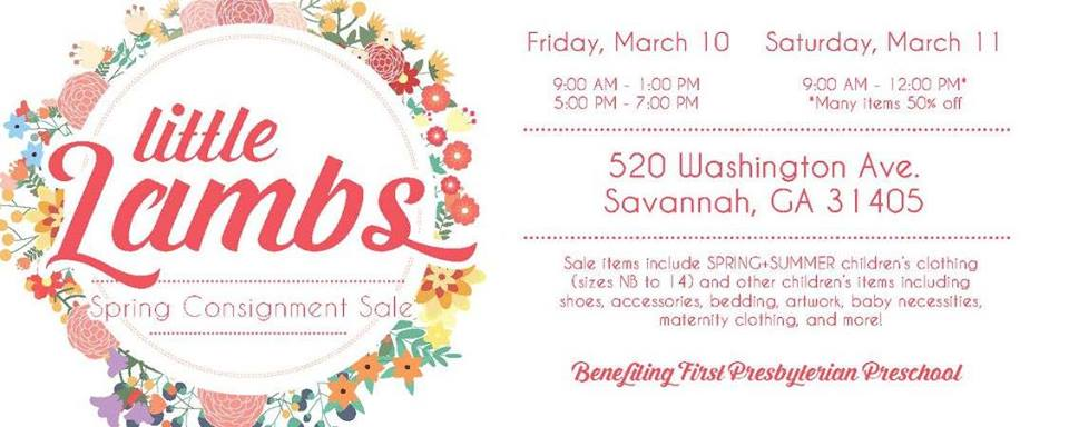 Savannah children's consignment sales Little Lambs Spring 2017