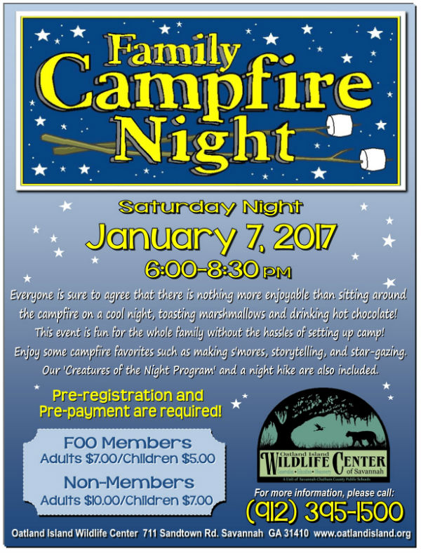 Family Campfire Night Oatland Island Wildlife Center Savannah