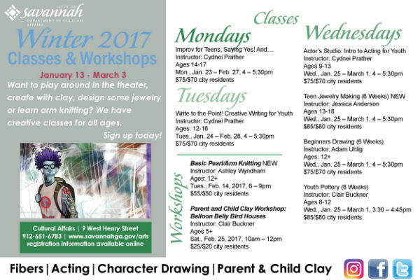 Art, fiber, drama, acting, clay classes Savannah kids' youth children