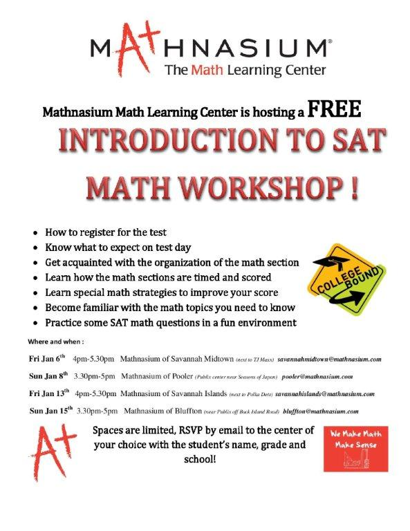 mathnasium Savannah Pooler Bluffton SAT math workshops 2017