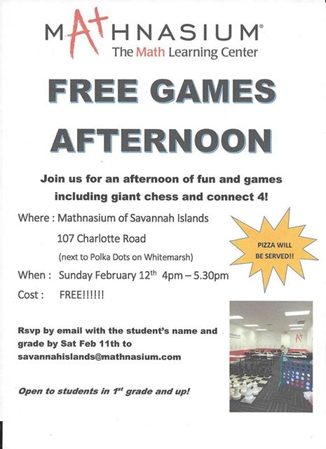 Free games afternoon Mathnasium Savannah Islands