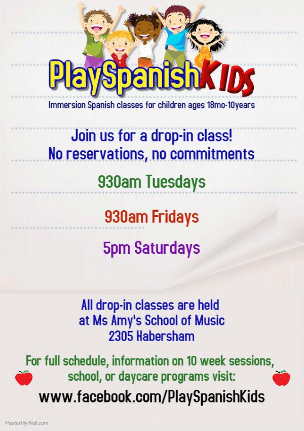 PlaySpanish Spanish classes kids Savannah drop-in