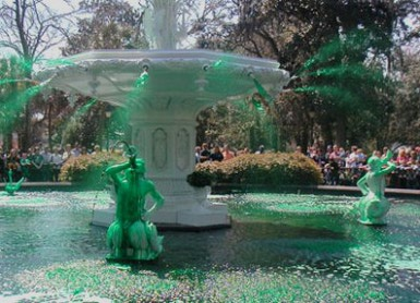 Greening Fountain Forsyth Park Savannah St. Patrick's Day 2017