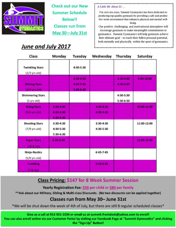 Gymnastics lessons classes Savannah tumbling