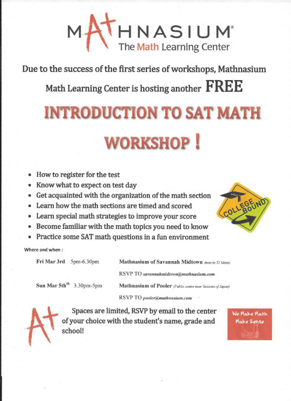 Free Math Tutoring intro to SAT Math Workshop Mathnasium Savannah Pooler