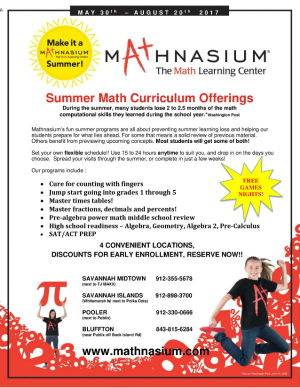 Mathnasium Summer 2017 Camps Savannah Pooler Bluffton Tutoring