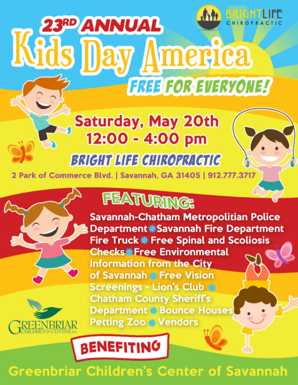 Bright Life Chiropractic Savannah Kids Day Free events
