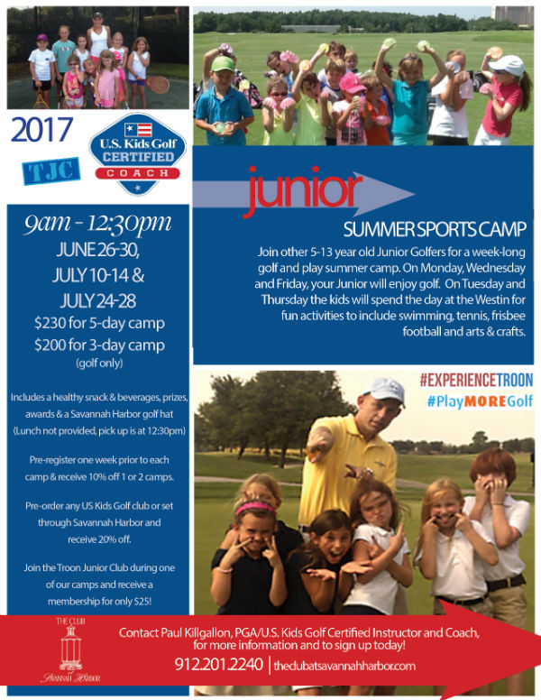 Golf Tennis camps Savannah 2017