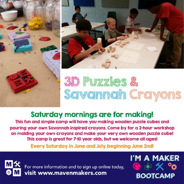 3D Puzzles Saturdays Savannah Maven Makers art maker camp