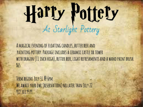 Harry Potter Savannah Starlight Pottery July 2017