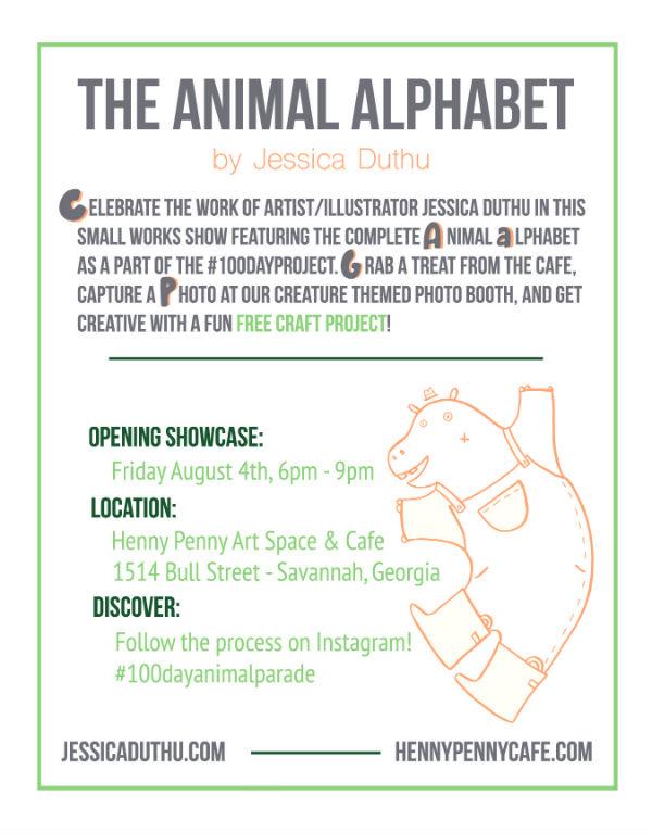 Animal Alphabet Art Show Henny Penny Savannah Strawberry Moth