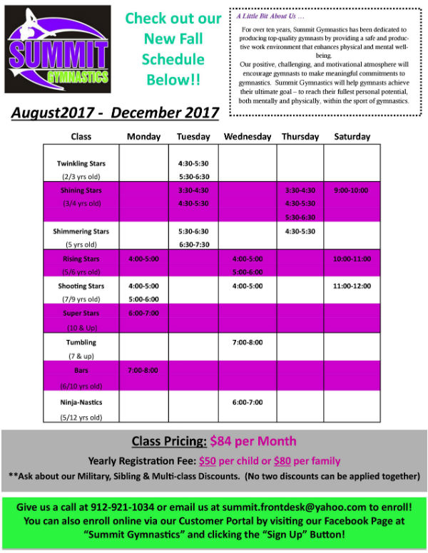 Summit Gymnastics Savannah Fall 2017 after-school tumbling classes