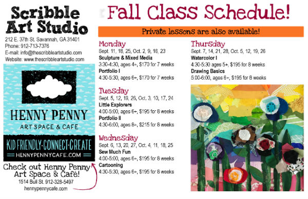 Fall 2017 art classes Savannah Scribble Art studio after-school