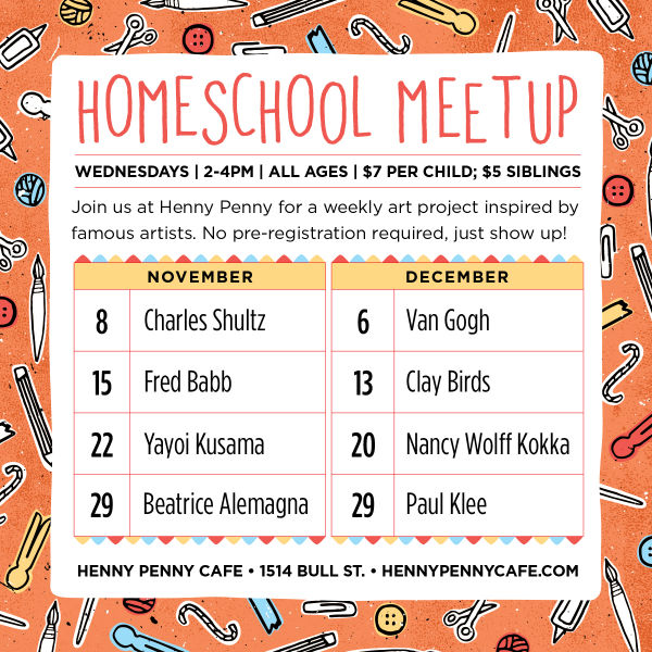 Homeschool meet-up Savannah Henny Penny art classes