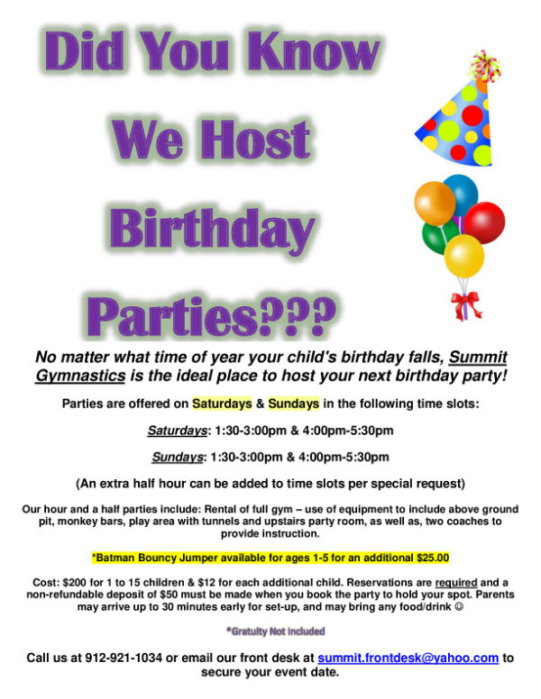 Birthday Parties Savannah Children's