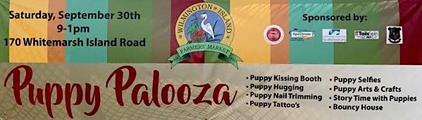Puppy Palooza Wilmingotn Island Farmers Market Savannah free event