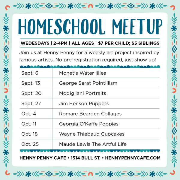 Homeschool programs Savannah art Henny Penny Scribble