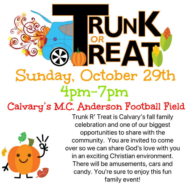 Savannah Halloween events trunk or treat Calvary Day School