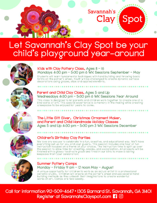 Savannah Pottery Classes Holiday Clay Spot