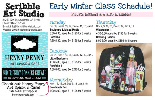 art classes winter Scribble Art Studio Savannah children's classes