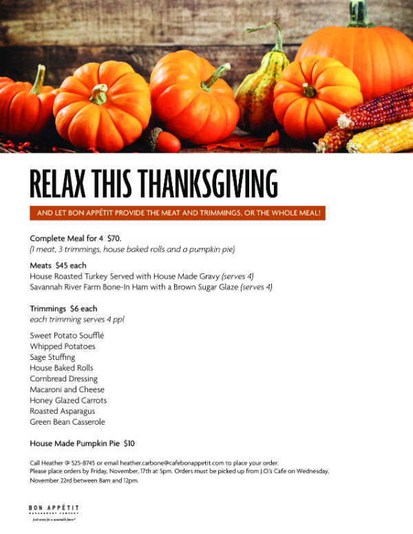 Thankgiving meal sides orders catering Savannah Bon Appetit SCAD
