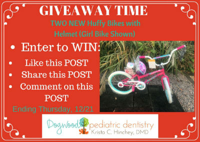 Giveaway Huffy Bike Savannah dentists Dogwood Pediatric Dentistry